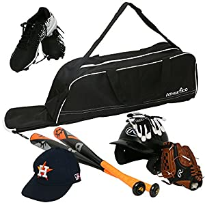 Athletico Baseball Tote Bag - Tote Bag for Baseball, T-Ball & Softball Equipment & Gear for Kids, Youth, and Adults   Holds Bat, Helmet, Glove, & Shoes   Fence Hook (Black)