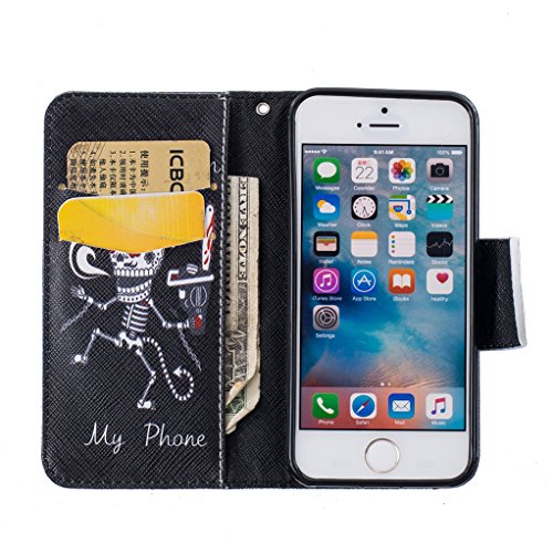 Trumpshop Smartphone Carcasa Funda Protección para Apple iPhone 5/5s/SE + Gatos + PU Cuero Caja Protector Billetera con Cierre magnético Choque Absorción Dont Touch My Phone (Monstruo)