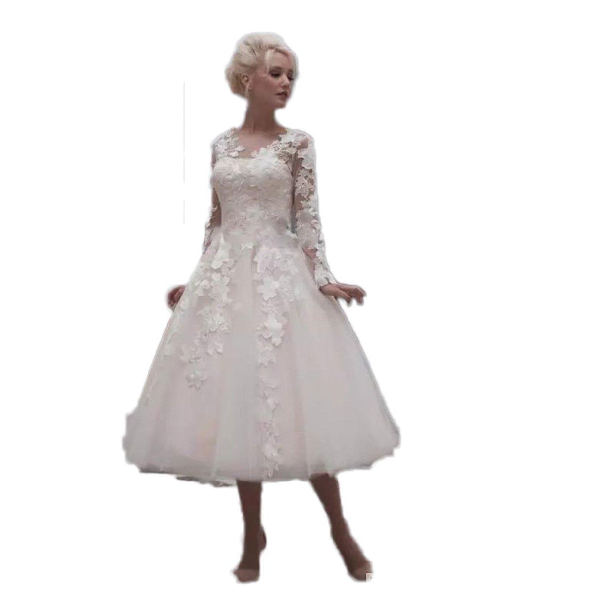 Automan Generous Tea Length Wedding Dresses Long Sleeve Lace Vintage
