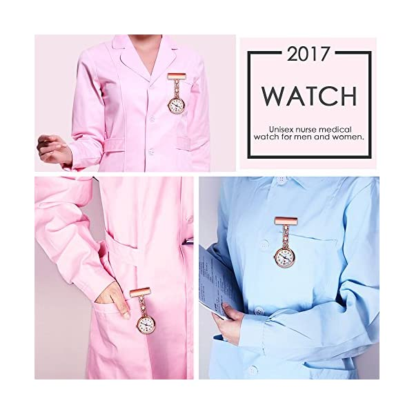 WIOR Nurse Lapel Pin Watch Hanging Medical Doctor Pocket Watch Quartz Movement Nurses Watch with Gift Box