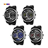 Gets Mens Wristwatch Big Face Dual Time Date Display and Silicon Strap Luxury Analog Digital Watch