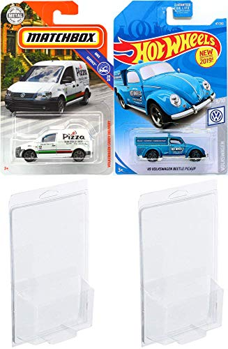 Pizza VW Delivery Pack Cars Matchbox Caddy Volkswagen Service Series 2019 Hot Wheels '49 Beetle Pickup Shop Truck 2 Bundle in Protective Cases