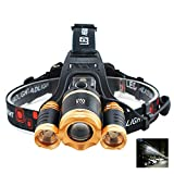 SZYT Aircraft Headlights Headlights Three head Dimming Fishing led Zoom