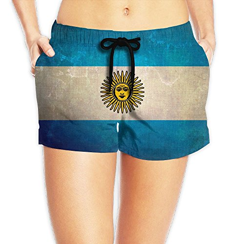 KCBHWS Women's Argentinian Flag Retro Gifts Board Shorts Casual Swimwear