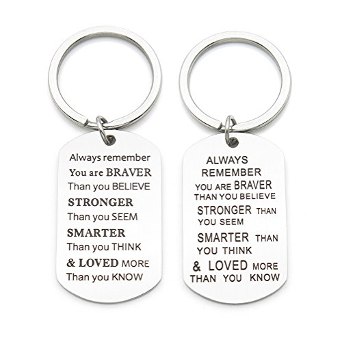 Always Remember You Are Braver Stronger Smarter Than You Think Inspirational Quote Keychain Key Ring Jewelry Necklace Gift Stainless Steel Double Sided Engraved !
