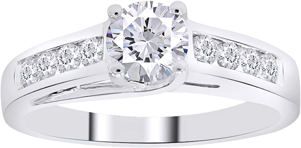 AFFY Solid 14k White Gold Solitaire Round CZ Cubic Zirconia Engagement Ring 1.5cttw