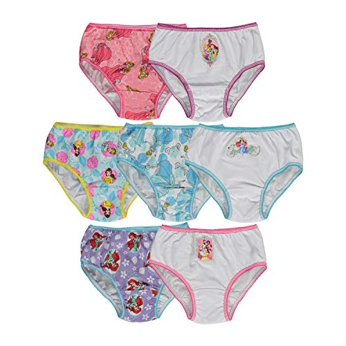 (Disney Little Girls'  Disney Princess 7 Pack Underwear, Multi, 2T/3T)