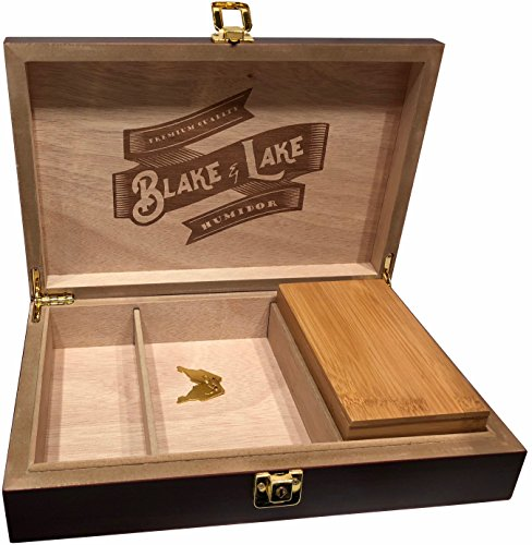 Blake   Lake Wood Stash Box With Lock   Wood Lock Box With Rolling Tray   Box With Lock And Key   Dark Brown Discrete Wooden Boxes
