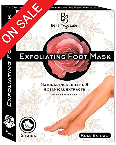 Soft Peel (Exfoliating Baby Foot Peel Mask for Smooth Soft Touch Feet - 2 Pairs per Box, Peeling away Calluses and Dead Skin Remover. Repair Rough Heels 1-2 weeks. Aloe extract. All- natural Rose scent.)