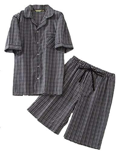 PNAEONG Men's Cotton Woven Short Sleeve Pajama Set Short Sleepwear - Top Short Sleeve Mens Woven
