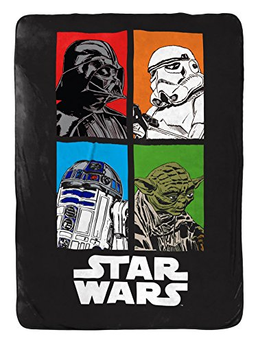 - Jay Franco Star Wars Classic Blanket - Measures 62 x 90 inches, Kids Bedding Features Darth Vader, Stormtrooper, Yoda, and R2-D2-Fade Resistant Super Soft Fleece - (Official Star War Product)