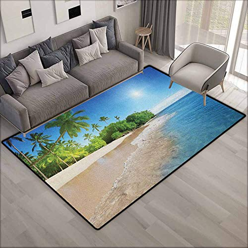 Living Room Rug,Blue Ocean Tropical Palm Trees on Sunny Island Beach Scene Panoramic View Picture,Rustic Home Decor,3'11