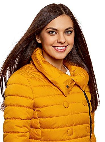 Cremallera con Decorativos y Amarillo Chaqueta oodji Botones Ultra Mujer 5200n Acolchada qw1R1xXAS