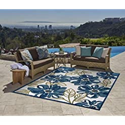 Garden and Outdoor Gertmenian 22240 Indoor Outdoor Rug Textured Outside Patio Textural Carpet, 6×9 Medium, Leaf Flower Navy Blue outdoor rugs