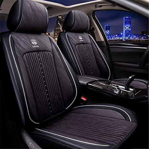 Sunluway 15 PCS Universal Leather Car Seat Cushion Cover Front and Rear Full Set Seat Pad Protector with Health Care Headrest for Year-Round Use Airbag Compatible