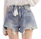 Comaba Womens Lounge Broken Hole Rugged Wear Bootcut Jean Short Blue M