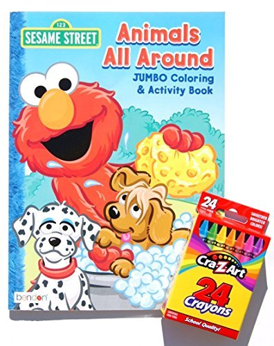 - Sesame Street Animals All Around Jumbo Coloring and Activity Book with a Box of Crayons