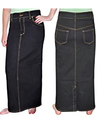 Kosher Casual Women's Modest Long Straight Denim Pencil Skirt With Back Slit