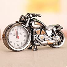 Motorcycle Alarm Clock Battery Operated,Creative Retro Motorbike Desk Clock Gifts for Motor Lovers,Kids,Heavy Sleepers,Good for Home Office Decoration Collection (silver2)