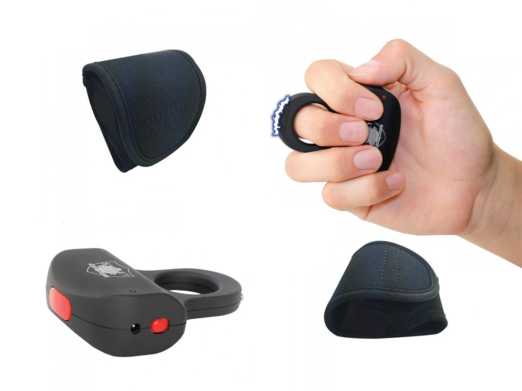 Streetwise Black Sting Ring Stun Gun with Holster 18 Million Stun Gun Discrete Protection Rechargeable Back to School or Holiday Gift