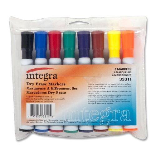 Integra 33311 Dry-Erase Marker, Large Barrel, Chisel Tip, 8 Color/ST, ()