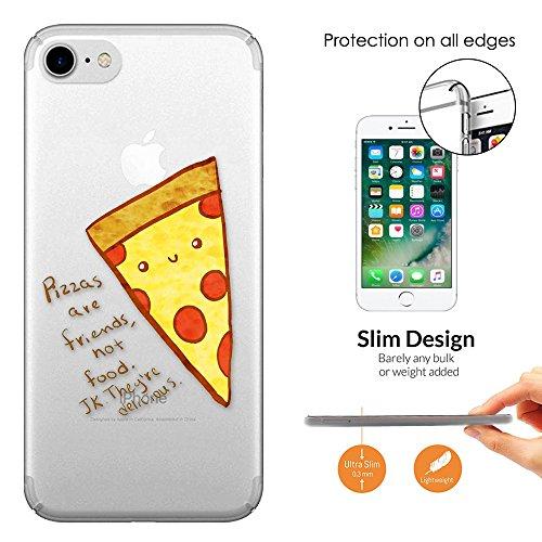 """c01302 - Fun Pizza Slice Pizza Friend Design iphone 7 Plus 5.5"""" Fashion Trend Leichtgewicht Hülle Ultra Slim 0.3MM Kunststoff Kanten und Rückseite Protection Hülle - Clear"""