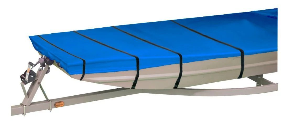 iCOVER Jon Boat Cover Water Proof Heavy Duty Trailerable Jon Boat Cover,Fits Jon Boat 12ft-18ft Long and Beam Width up to 75in,Blue//Grey Color,JB6202//JB6302