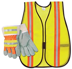 River City CCHIVIZ3 HiViz Split Glove/Vest Combo Pack