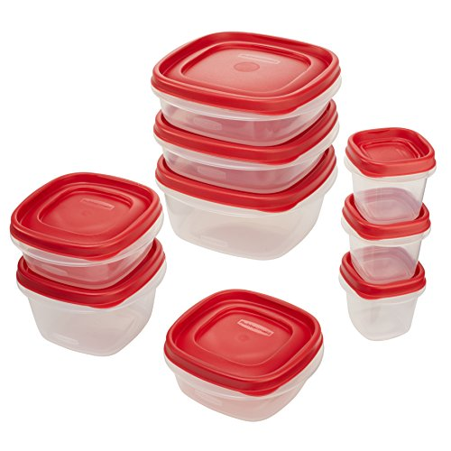Rubbermaid Easy Find Lids Food Storage Container, 18-Piece Set, Red (1783145)