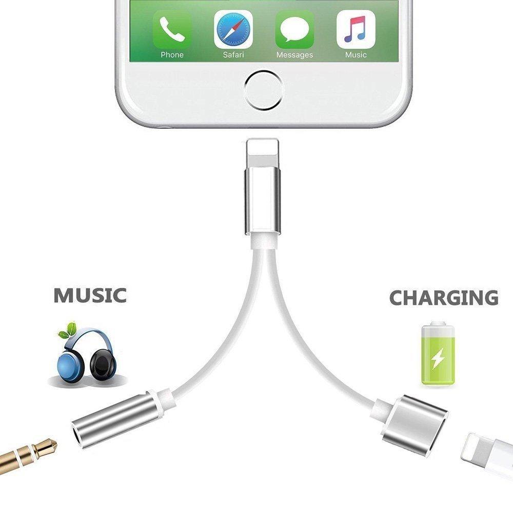 Electr/ónica Rey Cable 2 en 1 para iPhone 5//6//7//8//X a Jack 3,5 mm Audio Adaptador Extensi/ón Carga y Audio Doble