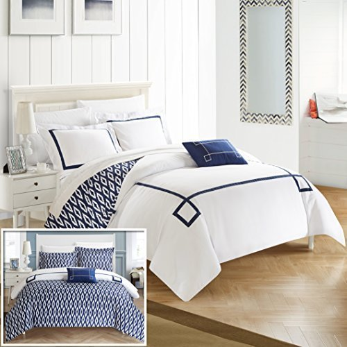 Chic Home 4 Piece Kendall Contemporary Greek Key Embroidered Reversible Queen Duvet Cover Set Navy Shams and Decorative Pillows Included