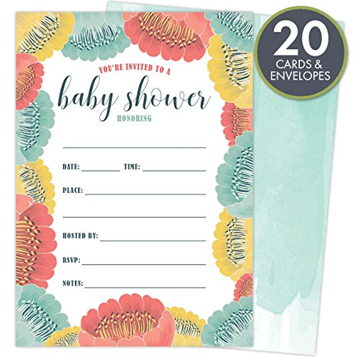 Baby Shower Party Invitations, Fill-in Style for girls and boys with Elegant, bright and bold floral, Unisex Design. Set of 20 Cards and Envelopes.