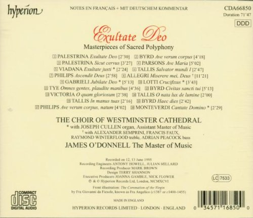 Exultate Deo - Masterpieces of Sacred Polyphony