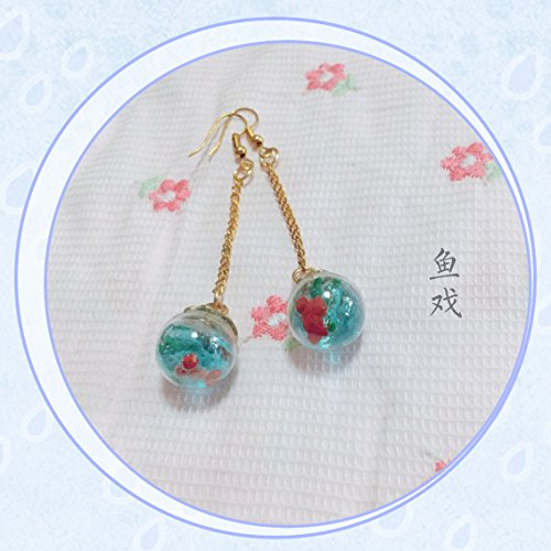 usongs Three seedlings ² fish play Earrings Koi goldfish earrings original handmade earrings