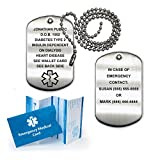 Medical Alert ID Brushed Stainless Steel Dog Tag