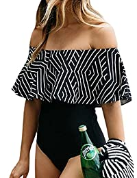 MiYang Women's Off the Shoulder Frill Geometric Striped One Piece Bathing Suit Bikini