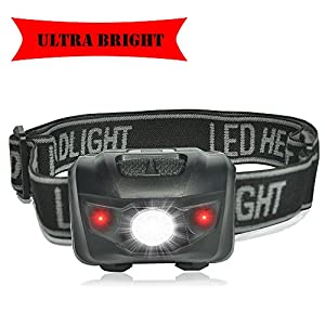 LED Headlamp Lights, With Red Strobe, Waterproof, For Kids Runner Hunting