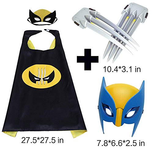 Comics Cartoon Wolverine Costume Cape & Luminous Mask and Claws Dress Up Costumes for Kids Party