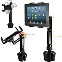 ChargerCity Xtreme Tablet Drinks Beverage Cup Holder Mount w/10inch Long Arm & 360º Swivel Adjust for All 7-12 Screen tablet like Apple iPad PRO Air Mini Samsung Galaxy Tab Surface Pro/Book