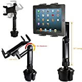 "ChargerCity LongArm Xtreme Tablet Beverage Drinks Cup Holder Mount w/10inch Arm & 360º Swivel Adjust for All 7 8 10 12"" tablet like Apple iPad PRO Air Mini Samsung Galaxy Tab Surface Pro/Book"