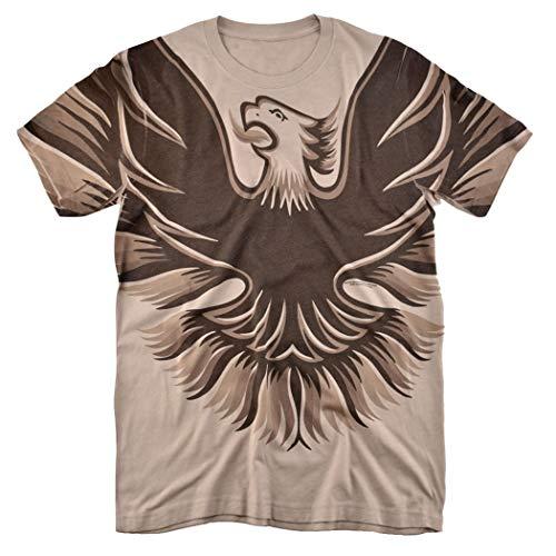 Pontiac 1978-1980 Firebird Trans Am Hood Emblem All Over T Shirt & Exclusive Stickers (Medium) Tan