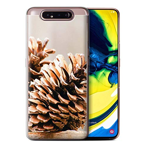 eSwish Gel TPU Phone Case/Cover for Samsung Galaxy A80/A90 2019 / Pine/Conifer Cone Design/Christmas Photo Collection