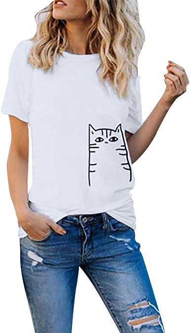 VEMOW Camisetas Moda para Mujer Niñas Tallas Grandes Imprimir Camiseta Camisa de Manga Corta de algodón Blusa Tops: Amazon.es: Ropa y accesorios