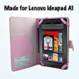 Lenovo Ideapad A1 22282 7-Inch Tablet Pink Executive Folio Cover / Case by Kiwi Cases LIMITED TIME SALE