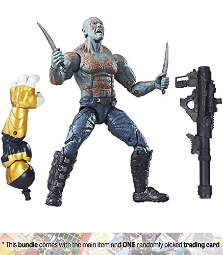 """Drax: ~6"""" Guardians of the Galaxy x Hasbro Marvel legends Action Figure + 1 Official Marvel Trading Card Bundle"""