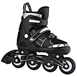ANCHEER Adjustable Rollerblades for Kids Youth Inline Skates Beginner Black Size 10 11 12 1