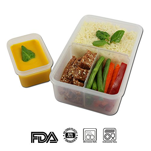 econaturel bento lunch box kids adults leakproof meal prep container with 3 removable perfect. Black Bedroom Furniture Sets. Home Design Ideas