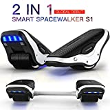 TOMOLOO Music-Rhythmed Hoverboard for Kids and Adult Two-Wheel Self-Balancing Scooter- UL2272 Certificated with Music Speaker- Colorful RGB LED Light (S1-Black+White)