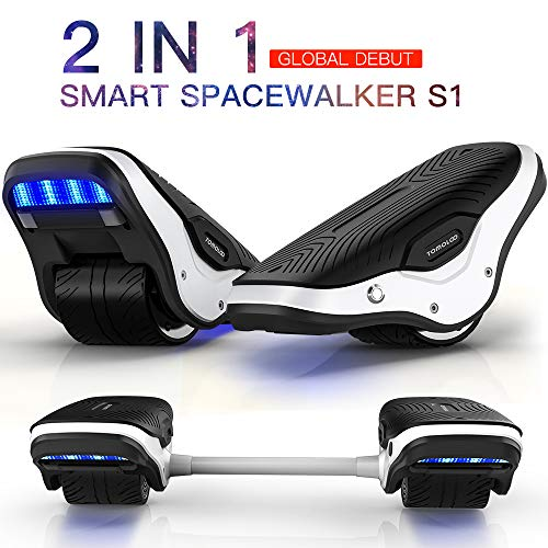TOMOLOO 2 in 1 Spacewalker S1 Electric Roller Skate Hover Board with LED Lights,250W Dual Motor Self Balancing Scooter for Kids and Adults, One Wheel Hovershoes for Outdoor Skating, 12km/h Max Speed