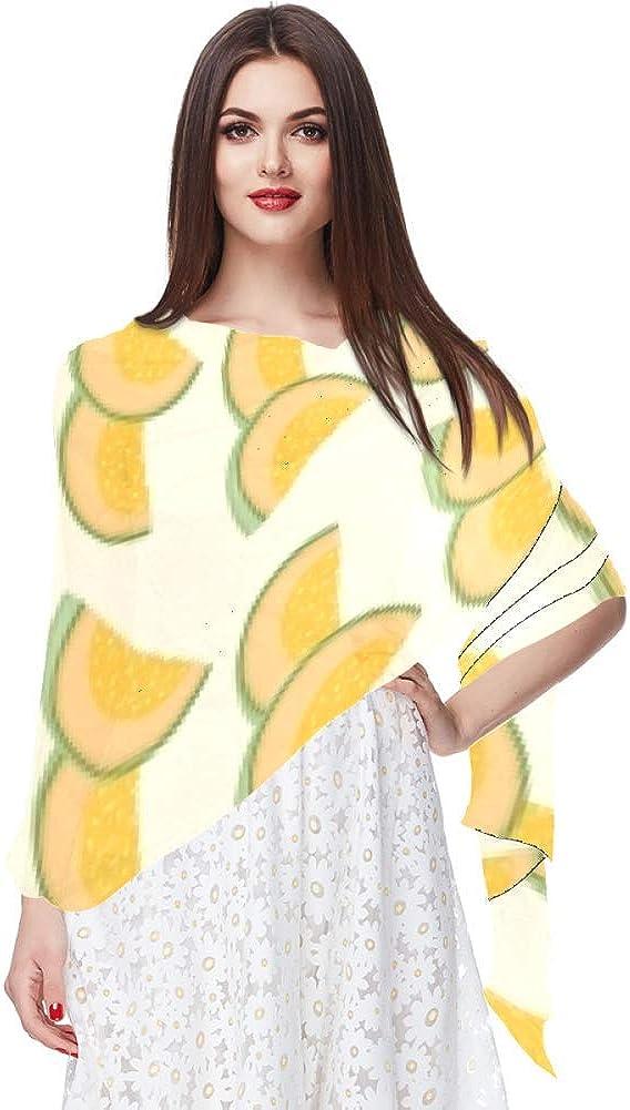 Bufanda de gasa de protección solar ligera y transpirable para mujeres verano pañuelo de cuello superior para bloquear el viento y arena Cantaloupe cortado a la mitad